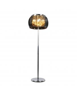 Stojąca LAMPA podłogowa DORA 40 okrągła OPRAWA salonowa z kryształkami