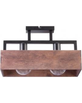 DREWNIANA lampa SUFITOWA brąz DAKOTA 2xE27 VINTAGE 31742 na czarnej metalowej belce