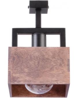 DREWNIANA lampa SUFITOWA brąz DAKOTA 1xE27 VINTAGE 31744 na czarnej metalowej belce