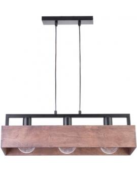 DREWNIANA lampa ŻYRANDOL brąz DAKOTA 3xE27 VINTAGE 31746 na czarnej metalowej belce