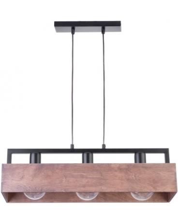 Drewniana Lampa żyrandol Brąz Dakota 3xe27 Vintage 31746 Listwa Belka