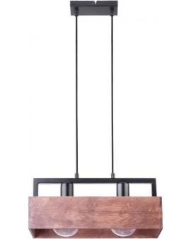 DREWNIANA lampa ŻYRANDOL brąz DAKOTA 2xE27 VINTAGE 31748 na czarnej metalowej belce