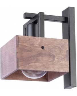 DREWNIANA lampa ŚCIENNA brąz DAKOTA 1xE27 VINTAGE 31752 styl SKANDYNAWSKI