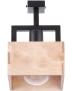 DREWNIANA lampa SUFITOWA beż DAKOTA 1xE27 VINTAGE 31745 kwadrat korytko na czarnej metalowej belce