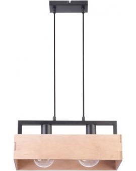 DREWNIANA lampa ŻYRANDOL beż DAKOTA 2xE27 VINTAGE 31748 LISTWA na czarnej metalowej belce