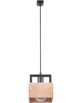 DREWNIANA lampa wisząca ŻYRANDOL beż DAKOTA 1xE27 VINTAGE 31751 kwadrat korytko styl SKANDYNAWSKI