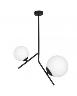 LAMPA wisząca styl skandynawski LUNA 1011PL/H1 ALDEX zwis patyk czarny zwis industrialny szklane mleczne klosze loft