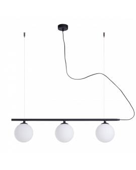 LAMPA wisząca modern BERYL GLASS III 1006E1 listwa czarna zwis industrialny na linkach szklane mleczne klosze loft