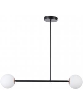 LAMPA wisząca modernistyczna mleczne kule GAMA 2 SIGMA 33192 loftowa molekuły OPRAWA metalowe pręty szklane kule zwis czarny