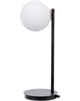 LAMPA biurkowa modernistyczna mleczna kula GAMA 1 SIGMA 50201 loftowa molekuły OPRAWA metalowe pręty szklana kula stołowa czarny