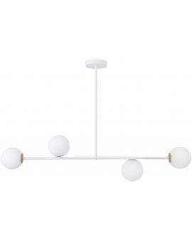 LAMPA wisząca modernistyczna mleczne kule GAMA 4 SIGMA 33189 loftowa molekuły OPRAWA metalowe pręty szklane kule zwis biały