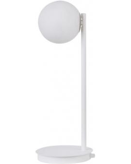 LAMPA biurkowa modernistyczna mleczna kula GAMA 1 SIGMA 50202 loftowa molekuły OPRAWA metalowe pręty szklana kula stołowa biały