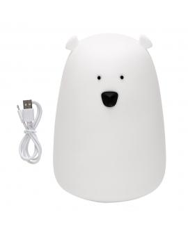 Rabbit & Friends Lampka Duży Miś silikonowy biały