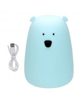 Lampka dekoracyjna z akumulatorem MIŚ TAP TAP silikonowy LED niebieska