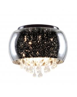 Lampa sufitowa szklana srebrna 40 glamour kryształ