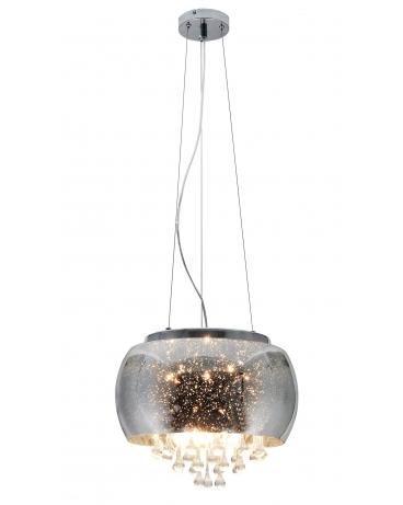 Lampa wisząca szklana srebrna 40 glamour kryształ