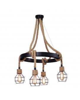 WYS.24H! Marynistyczna LAMPA lina BROOKLYN rustykalna SPIDER sznur jutowy PAJĄK 2m beżowy z konopi żeglarska VINTAGE