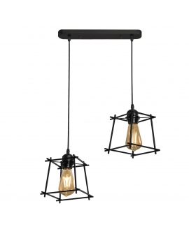 LAMPA wisząca TORN 2 industrialna OPRAWA metalowy zwis druciany klatka loft RETRO edison czarny