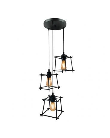 LAMPA wisząca TORN 3 industrialna OPRAWA metalowy zwis druciany klatka loft RETRO edison czarny