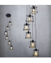 Industrialna LAMPA wisząca TORN 6 druciana OPRAWA metalowa kaskada WIRE drut KLATKA LOFT czarny