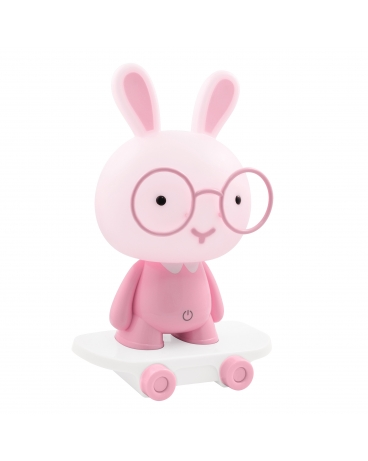 WYS.24H! Lampka nocna biurkowa dziecięca KRÓLIK na deskorolce różowy LED 2,5W dla dzieci na prezent