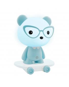 WYS.24H! Lampka nocna biurkowa dziecięca MIŚ na deskorolce niebieski LED 2,5W dla dzieci na prezent
