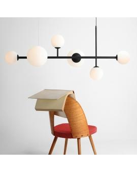 LAMPA wisząca modernistyczna mleczne kule BALIA 6 loftowa molekuły OPRAWA metalowe pręty szklane kule zwis czarny