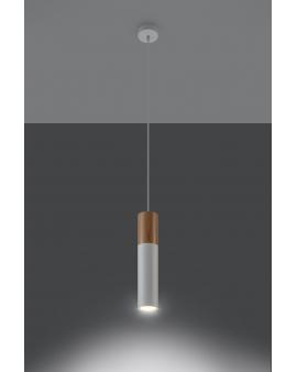 LAMPA wisząca BARELL1/GU10/60mm/BI metalowa drewniana OPRAWA skandynawska ZWIS sopel tuba spot laser wood biała