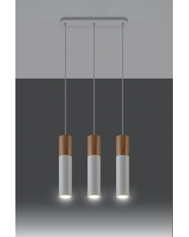 WYS. 24H! LAMPA wisząca BARELL 3/GU10/60mm/BI metalowa OPRAWA skandynawska ZWIS sopel tuba spot laser wood biała
