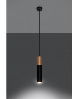 LAMPA wisząca BARELL1/GU10/60mm/CZ metalowa drewniana OPRAWA skandynawska ZWIS sopel tuba spot laser wood czarna