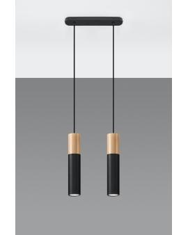 WYS. 24H! LAMPA wisząca BARELL 2/GU10/60mm/CZmetalowa drewniana OPRAWA skandynawska ZWIS sopel tuba spot laser wood czarna