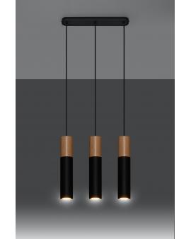 WYS. 24H! LAMPA wisząca BARELL 3/GU10/60mm/CZ metalowa drewniana OPRAWA skandynawska ZWIS sopel tuba spot laser wood czarna