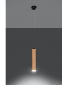 LAMPA wisząca CHIMES 1/GU10/60mm/DR metalowa drewniana OPRAWA skandynawska ZWIS sopel tuba spot laser wood