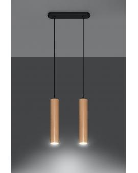 LAMPA wisząca CHIMES 2/GU10/60mm/DRmetalowa drewniana OPRAWA skandynawska ZWIS sopel tuba spot laser wood
