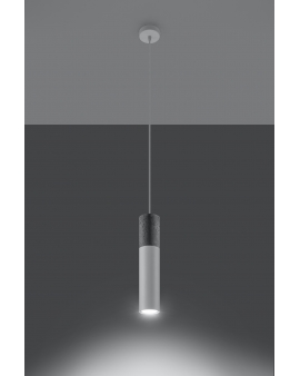 LAMPA wisząca BARELL 1/GU10/60mm/BI metalowa betonowa