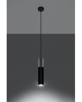 LAMPA wisząca BARELL 1/GU10/60mm/CZ metalowa drewniana OPRAWA skandynawska ZWIS sopel tuba spot laser wood czarna