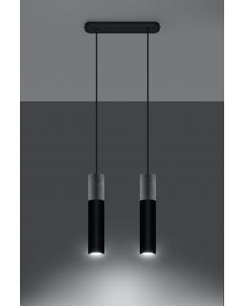 LAMPA wisząca BARELL 1/GU10/60mm/CZ metalowy betonowy OPRAWA skandynawska ZWIS sopel tuba spot laser beton czarna