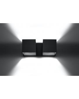 Kinkiet LAMPA ścienna NEPTUN OPRAWA metalowa KWADRAT SPOT KOSTKA korytko dyskretne światło góra/dół czarny