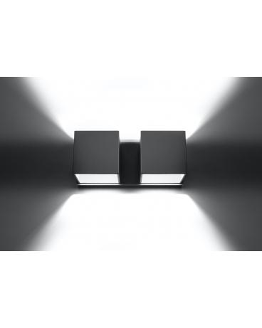 Kinkiet LAMPA ścienna NEPTUN 2 OPRAWA metalowa KWADRAT SPOT KOSTKA korytko dyskretne światło góra/dół biały