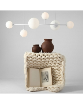LAMPA wisząca modernistyczna mleczne kule BALIA 6 loftowa molekuły glass bubble metalowe pręty szklane kule zwis biały