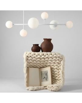LAMPA wisząca modernistyczna mleczne kule 1092K DIONE 6 loftowa molekuły glass bubble metalowe pręty szklane kule zwis biały