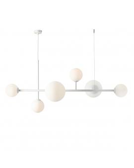 LAMPA wisząca modernistyczna mleczne kule BALIA 6 ALDEX loftowa molekuły glass bubble metalowe pręty szklane kule zwis biały