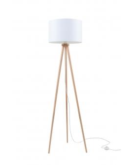 LAMPA podłogowa STAND 2 abażur BIAŁY 1xE27 drewniana OPRAWA skandynawska STOJĄCA naturalne drewno