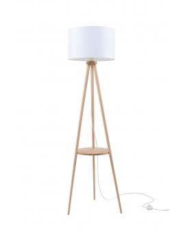 LAMPA podłogowa STAND 1 abażur BIAŁY 1xE27 drewniana OPRAWA skandynawska STOJĄCA naturalne drewno