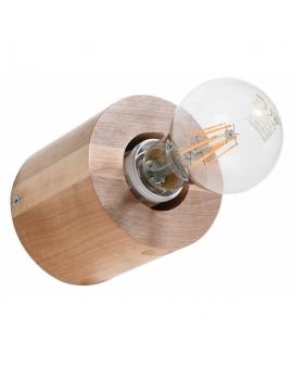 WYS. 24H! LAMPA ścienna okrągła PLUTON drewno E27 KINKIET minimalistyczna CYLINDER WALEC tuba KOŁO naturalne drewno