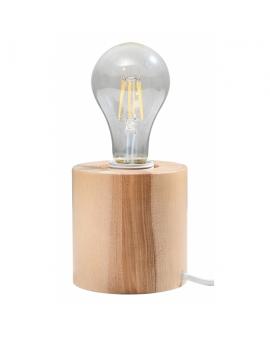 WYS. 24H! LAMPA biurkowa okrągła PLUTON drewno E27 STOŁOWA minimalistyczna CYLINDER WALEC tuba KOŁO naturalne drewno