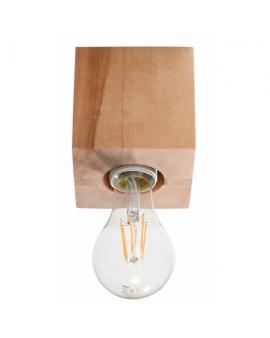WYS. 24H! LAMPA sufitowa NEPTUN E27 natynkowa DREWNO minimalistyczna KWADRAT drewno naturalne