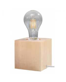 WYS. 24H! LAMPA stołowa NEPTUN E27 DREWNO biurkowa minimalistyczna KWADRAT drewno naturalne