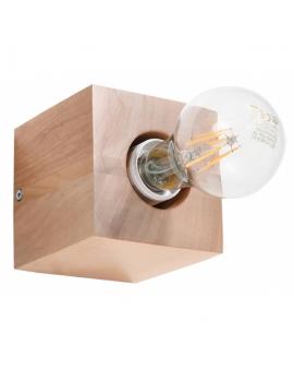 WYS. 24H! LAMPA ścienna NEPTUN E27 natynkowa DREWNO kinkiet minimalistyczny KWADRAT drewno naturalne