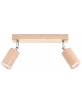 LAMPA ścienna/sufitowa BERGE 2xGU10 drewno reflektor OPRAWA regulowana spot